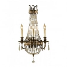 BELLINI traditional wall sconce, bronze with antique crystal