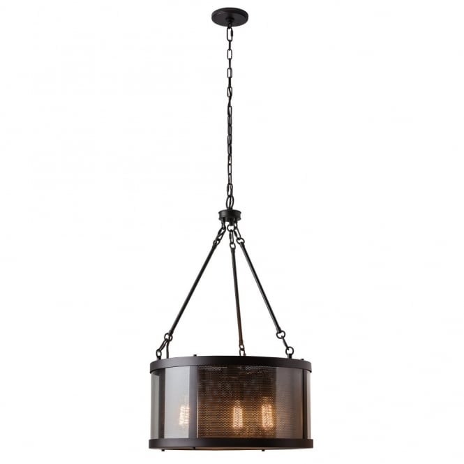 Feiss BLUFFTON rustic perforated shade bronze 3lt vintage ceiling pendant