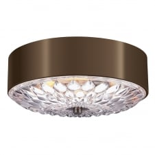 decorative flush ceiling light in dark brass with pressed glass diffuser