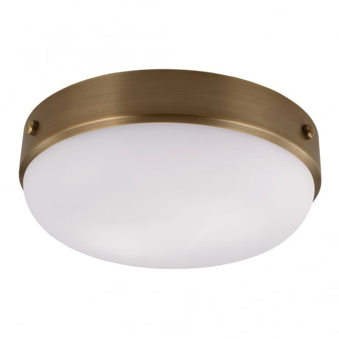 Feiss CADENCE modern industrial dark antique brass flush mount ceiling light with opal diffuser