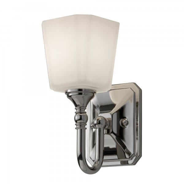 Chrome Wall Light With Glass Shade : Classic Bathroom Wall Light in Polished Chrome with Opal Glass Shade