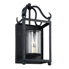 traditional open frame wall lantern in antique iron with clear glass