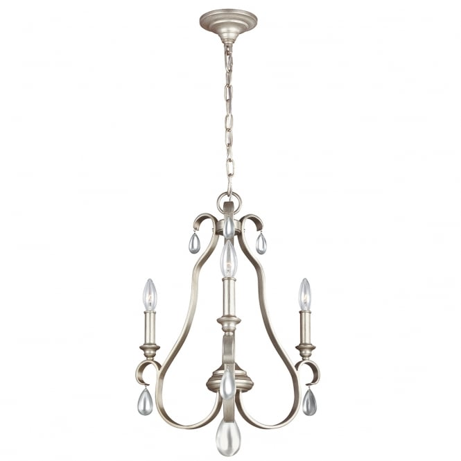 Feiss DEWITT decorative traditional 3 light chandelier in sunrise silver