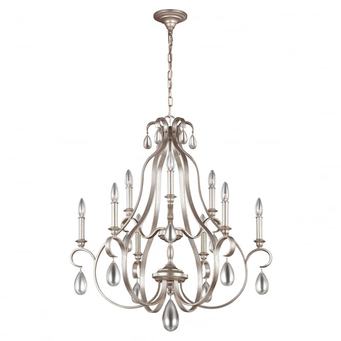 Feiss DEWITT decorative traditional 9 light chandelier in sunrise silver