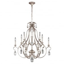 decorative traditional 9 light chandelier in silver
