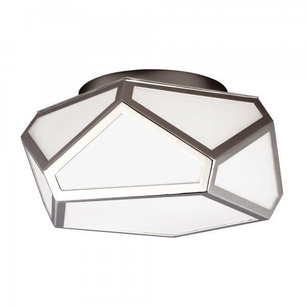 Geometric Design Flush Fit Ceiling Light W Nickel Frame