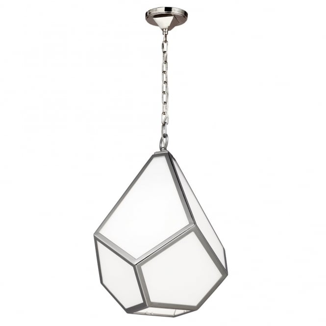 Feiss DIAMOND modern geometric design nickel & opal white medium ceiling pendant