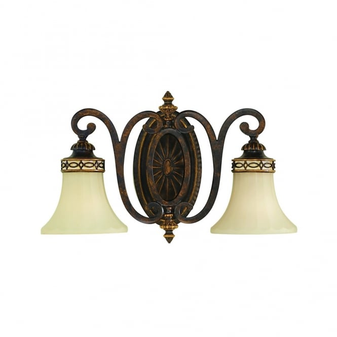 Feiss DRAWING ROOM Edwardian style double wall light in walnut bronze with fluted glass shades