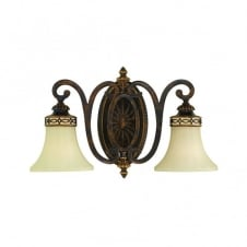 DRAWING ROOM Edwardian style double wall light in walnut bronze with fluted glass shades