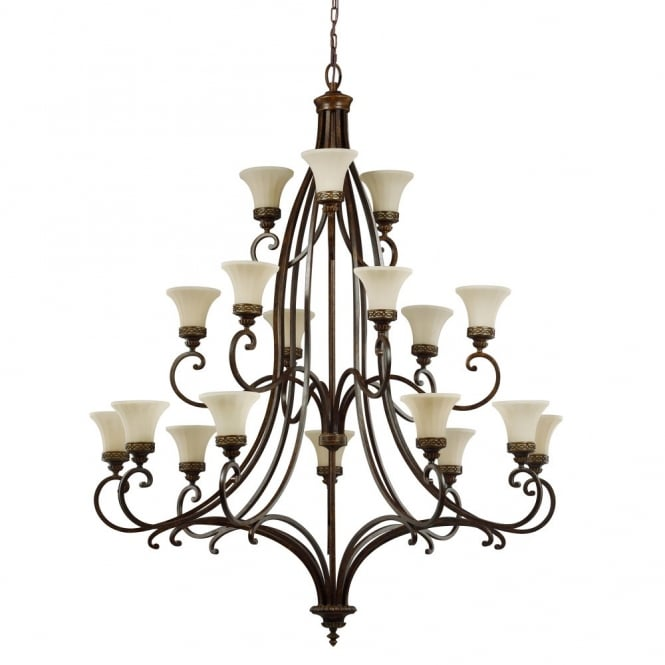 Feiss DRAWING ROOM large Edwardian 18lt chandelier in walnut bronze with fluted glass shades