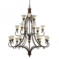 DRAWING ROOM large Edwardian 18lt chandelier in walnut bronze with fluted glass shades