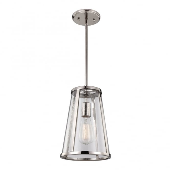 Feiss HARROW modernised industrial ceiling pendant in polished nickel with seeded glass panels (small)