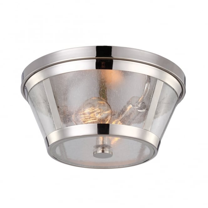 Feiss HARROW modernised industrial flush ceiling light in polished nickel with seeded glass panels
