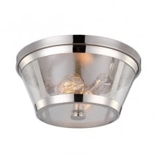 modern industrial polished nickel flush ceiling light with clear glass shade