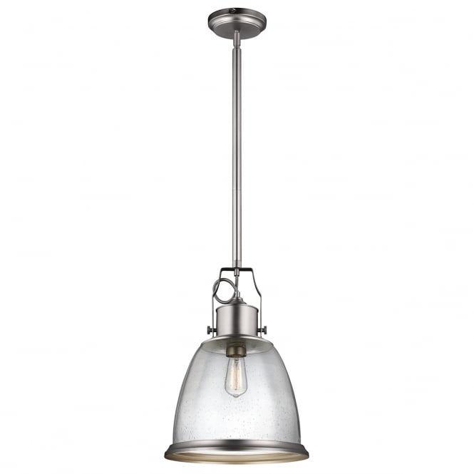 Feiss HOBSON industrial style satin nickel pendant with clear seeded glass