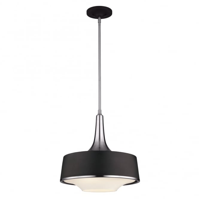HOLLOWAY contemporary ceiling pendant in textured black & steel finish