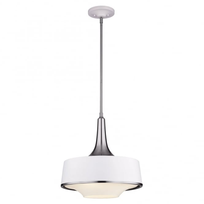 Feiss HOLLOWAY contemporary ceiling pendant in textured white & steel finish