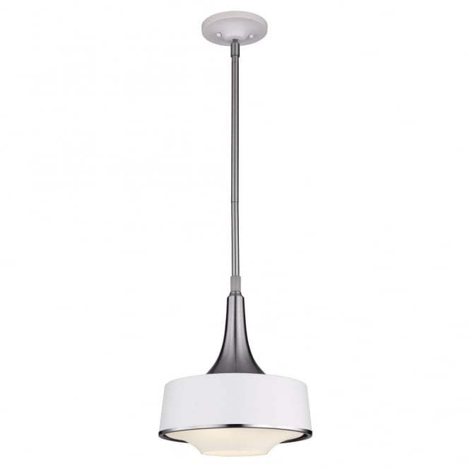 Feiss HOLLOWAY contemporary mini ceiling pendant in textured white & steel finish