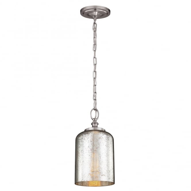 Domed Mercury Glass Decorative Ceiling Pendant W/ Brushed