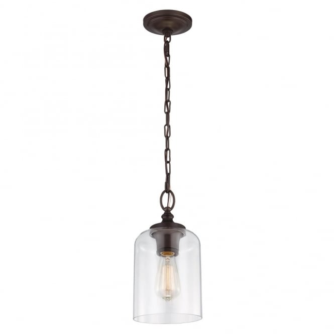 Feiss HOUNSLOW mini ceiling pendant in oil rubbed bronze with clear glass shade