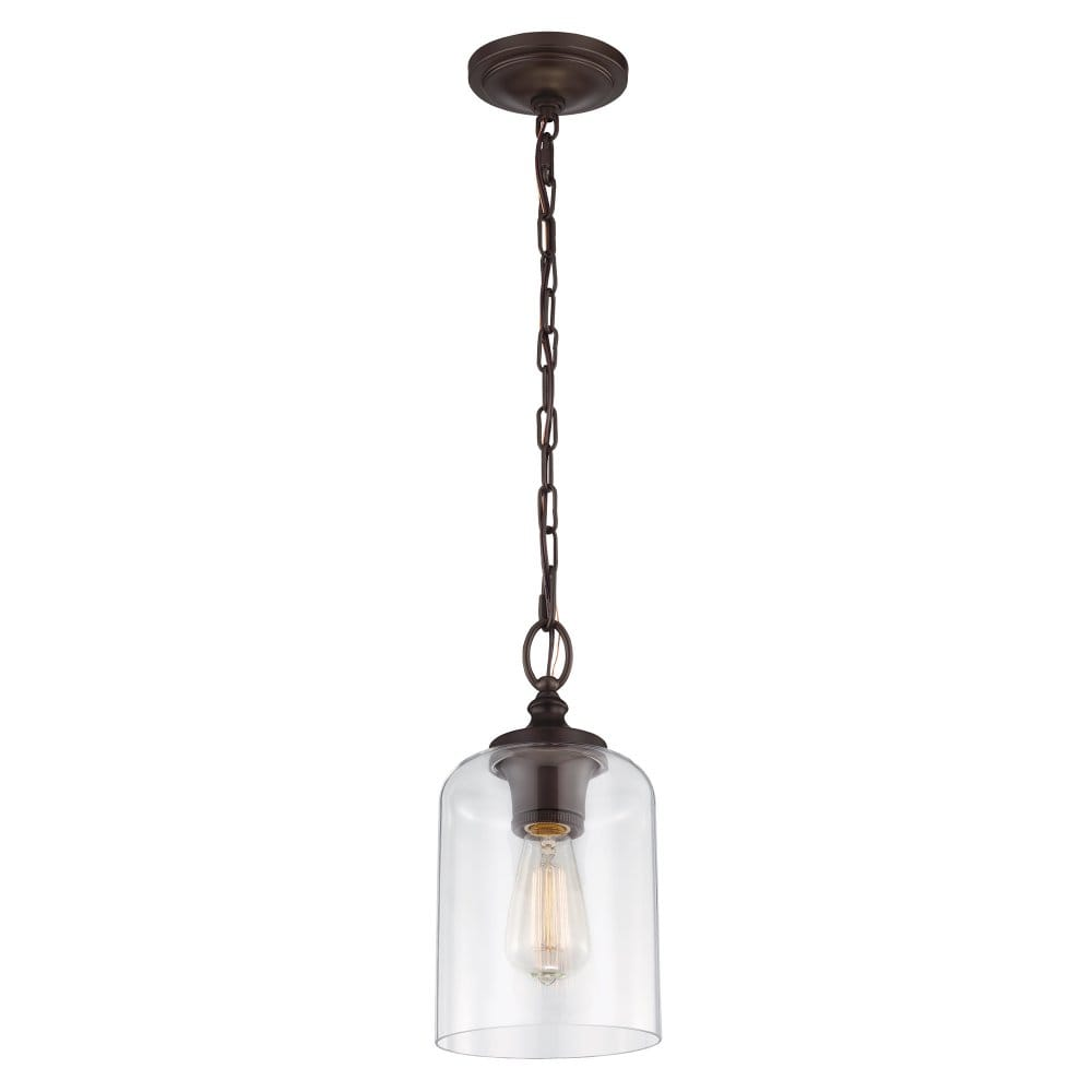 Clear glass ceiling pendant with bronze chain suspension - Clear glass ceiling light ...