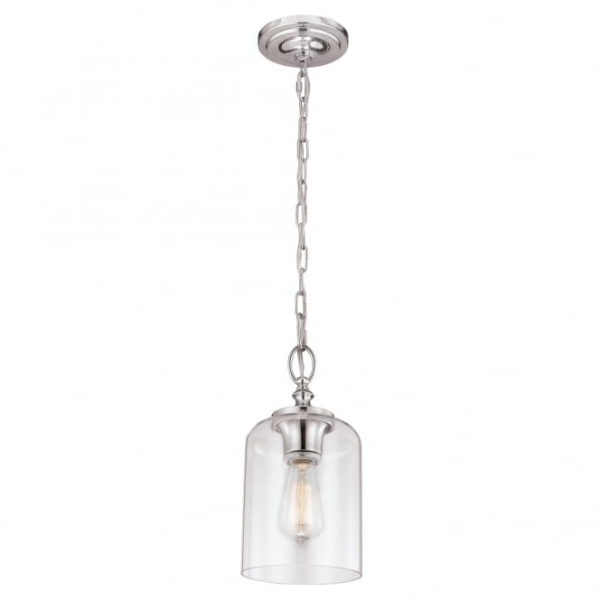 HOUNSLOW mini ceiling pendant in polished nickel with clear glass shade