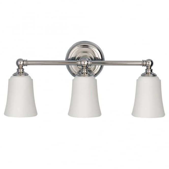 Modern Classic 3 Light Over Mirror Light For Bathrooms In Polished Chrome  With Opal Glass Shades