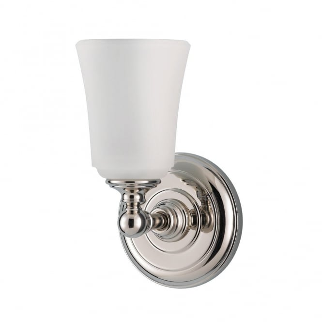 Feiss HUGUENOT LAKE modern classic polished chrome bathroom wall light with opal glass shade