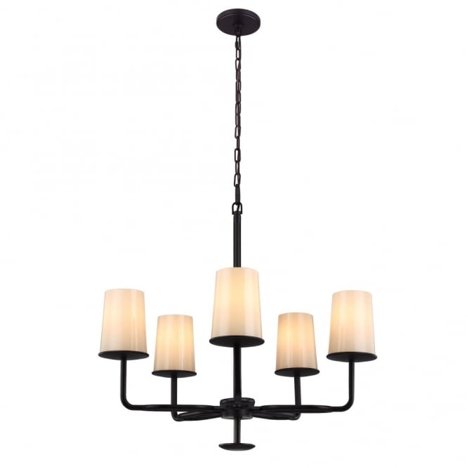 Feiss HUNTLEY rustic oil rubbed bronze 5lt chandelier with ivory glass shades