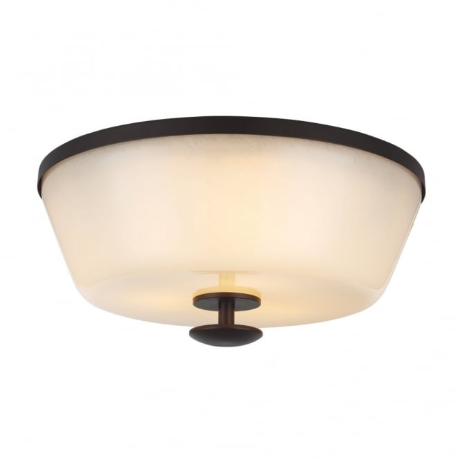 Feiss HUNTLEY rustic oil rubbed bronze flush mount ceiling light with ivory glass shade