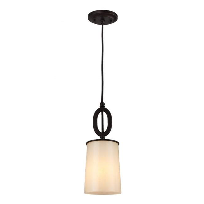 HUNTLEY rustic oil rubbed bronze mini ceiling pendant with ivory glass shade