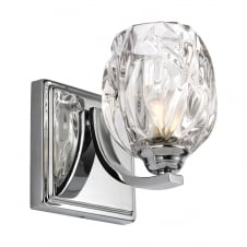 modern classic polished chrome wall light with glass shade