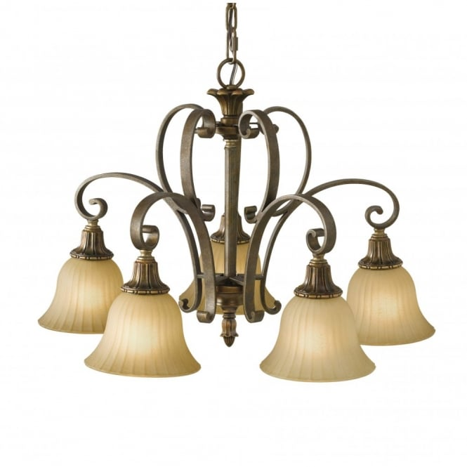 Feiss KELHAM HALL bronze gold chandelier, traditional with 5 lights