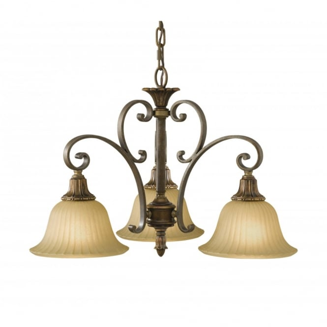 Bronze Ceiling Pendant Or Small Chandelier With 3 Scavo