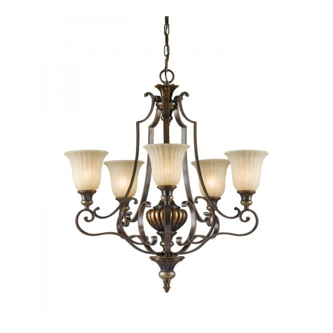 Feiss KELHAM HALL traditional bronze gold chandelier