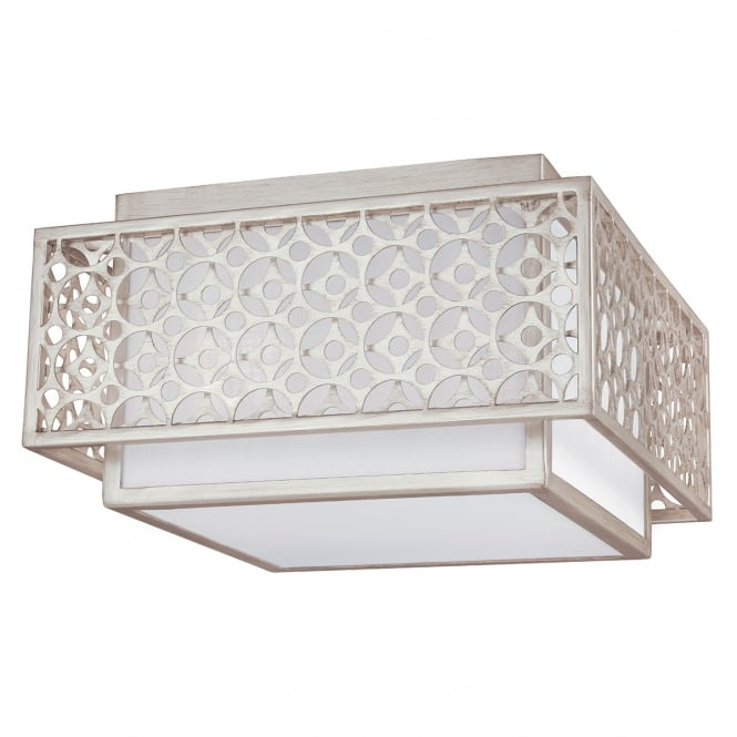 KENNEY flush mount ceiling light with motif surround in sunrise silver finish