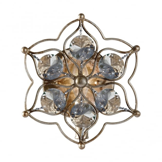 Feiss LEILA decorative floral wall light in aged silver with crystal decor