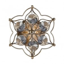 LEILA decorative floral wall light in aged silver with crystal decor