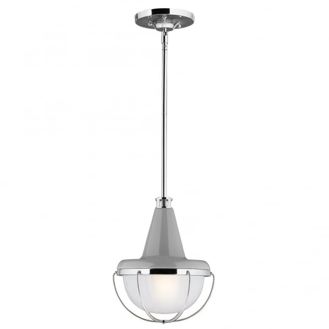 LIVINGSTON modern industrial ceiling pendant in gloss grey & nickel finish