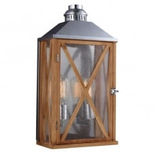 LUMIERE rustic oak wooden outdoor wall lantern (medium)