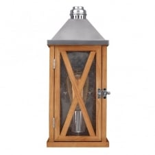 LUMIERE rustic oak wooden outdoor wall lantern (small - tapered)