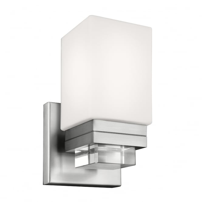 MADDISON single bathroom wall light in nickel with opal glass
