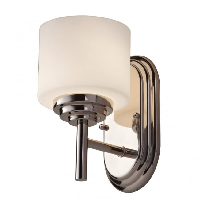 Modern Classic Bathroom Wall Light In Chrome With Opal Glass Shade - Bathroom wall sconce with shade