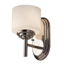 modern classic bathroom wall light in polished chrome with opal glass