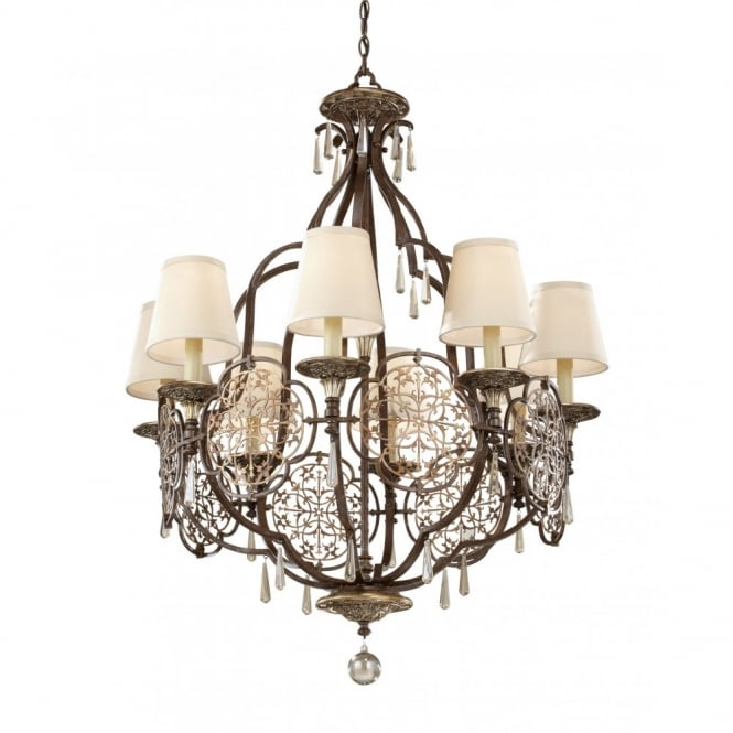 Feiss MARCELLA 8 light bronze chandelier, fretwork detailing