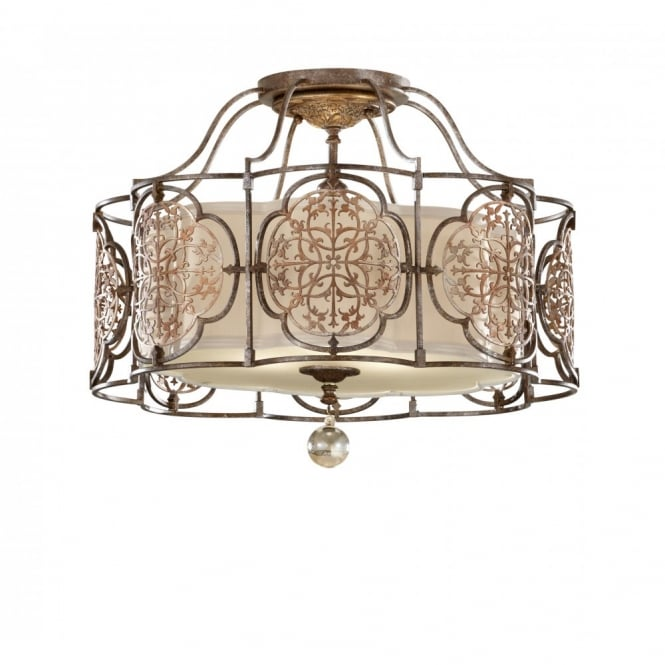 Feiss MARCELLA bronze semi-flush mounted ceiling light, fretwork detail