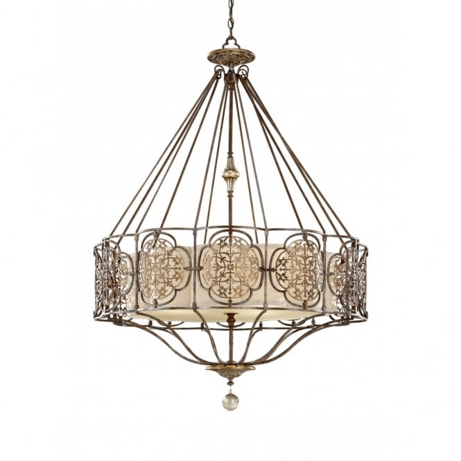 Feiss MARCELLA chandelier style pendant light, bronze fretwork