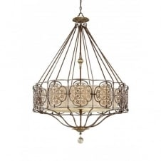 MARCELLA chandelier style pendant light, bronze fretwork