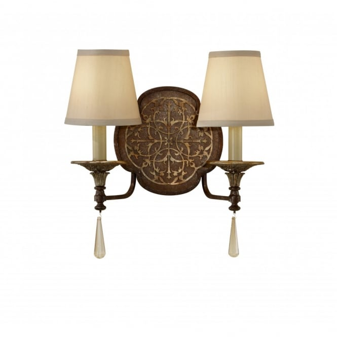 Feiss MARCELLA double bronze wall light, traditional fretwork detailing