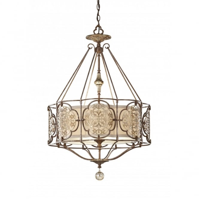 Feiss MARCELLA traditional bronze fretwork ceiling light